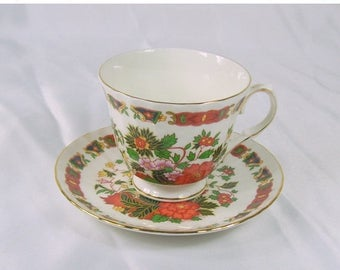 ON SALE Vintage Duchess England Bone China Teacup and Saucer Asian Black Orange Flowers Gold Trim