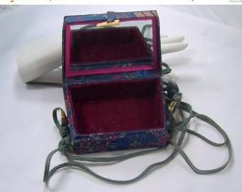 ON SALE Vintage 1980s Disco Purse Bag Compact Mirror Blue Satin Cloisonne Asian Shoulder Strap Original Tags Never Used