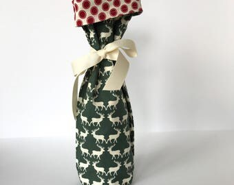 Wine Gift Bag -  green deer with red dots white ribbon