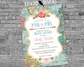 Traveling from Miss to Mrs wedding shower invitation rehearsal bridal engagement world rustic map boho flowers 370b retirement couples