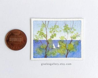 Dollhouse miniature painting - original watercolor 1:12 scale