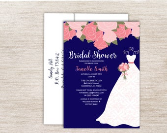 Navy and Pink Bridal Shower, Bridal Gown Invitation,  Navy and Pink Floral Bridal Shower Invitations,Wedding Dress