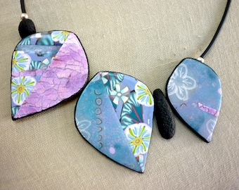 pink blue pastel Leaf Necklace, OOAK artisan boho statement necklace, unique summer handmade jewelry, mother's day gift original leaf design