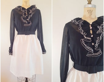 Vintage 1960s Dress / Black and White Fit n Flare / Ruffles / Small Medium