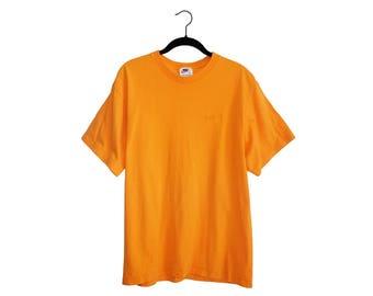Vintage 90's Nike Swoosh Baggy Bright Orange Oversize Crewneck T-Shirt - Medium