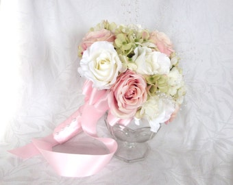 Reserved bridal bouquets pink blush roses creme white roses green hydrangea set