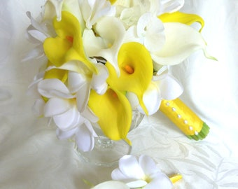 Plumeria bouquet and matching boutonniere plumeria real touch calla lilies white hydrangea wedding bouquet