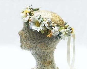 Daisy Bridal Flower Crown, Wildflower Daisy Flower Hair Wreath, Daisy Circlet, Rustic Bridal Headpiece, Daisy Floral Crown, Woodland, Boho