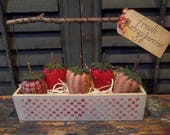 Gathering of Primitive Handmade Strawberries in Painted Wood Box/Basket