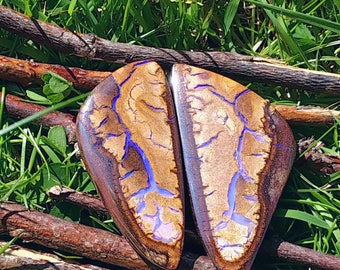 52mm & 47mm boulder opal pair VIDEO LINK 50ct and 55ct 52 by 26 by 6 and 47 by 22 by 6.5