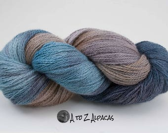 Sock Weight - Hand Dyed Alpaca Yarn - Made in Canada - Whispering Beach