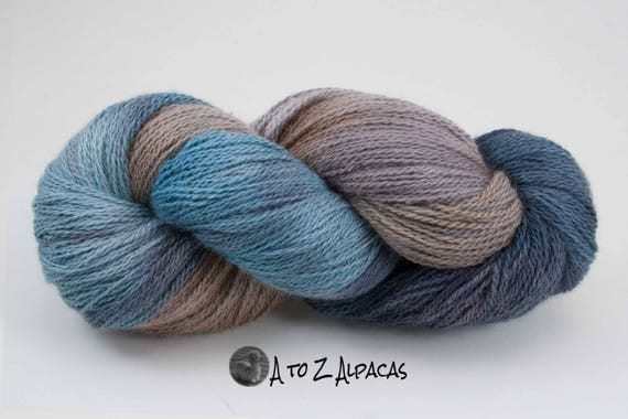 Sock Weight - Hand Dyed Alpaca Yarn - Made in Canada - Whispering Beach