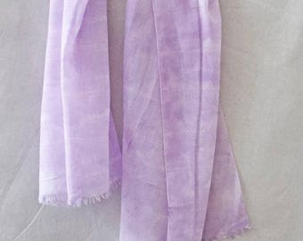 Purple Cotton Scarf, Shibori Scarf, Summer Scarf, Purple Scarf, Lavender Scarf, Watercolor Scarf, Hand Painted Scarf, Woman's Scarf, USA