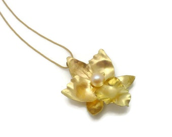 Forged 18k Gold Orchid Pendant with Akoya pearl