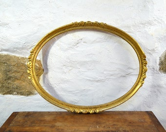 Antique French picture frame carved wood oval gold