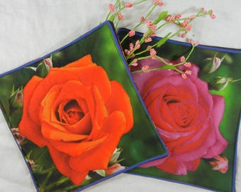 Quilted Trivets (2) - Bright Roses - Orange and Pink - Set #2