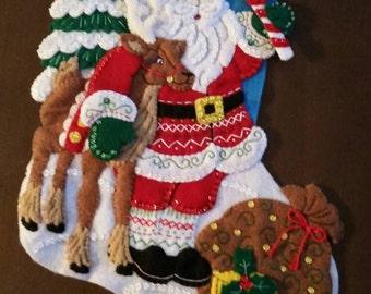"""Finished Felt Christmas Stocking """"Nordic Santa"""" 18 inch"""