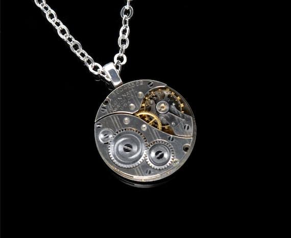 ELGIN Steampunk Necklace STEAMPUNK Jewelry Silver Pocket Watch Necklace Art Deco Striped Elgin Steam Punk Jewelry By Victorian Curiosities