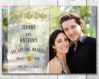 5x7 Save The Dates Personalized Photo*Wedding Announcement*Custom*Digital File*Printable*Gold Glitter*