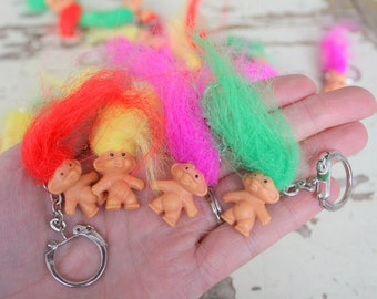 Vintage TROLLS Doll Keychains...collectible. troll. 1980s. 1990s. kitsch. retro. vintage toys. crazy. hippie troll. happy birthday. princess
