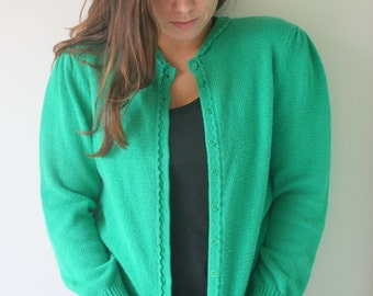 Vintage KELLY GREEN Mid Century Cardigan Sweater....size small. designer. knit. retro. mod. green sweater. cute buttons. nautical. preppy