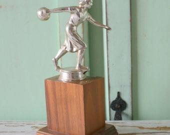 1960s BOWLING TROPHY...unisex. sporty. retro bowling trophy. vintage bowling accessories. 1970s. designer. home decor. 1950s 1960s. league