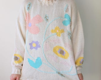 1980s Floral Boho Kitsch Retro Sweater...large. medium. urban. garden. retro. 1980s sweater. rad. fun. 1980s 1990s. hipster. cute. kawaii.
