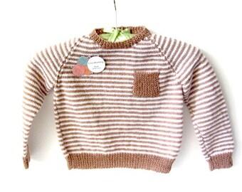 Hand Knit baby sweater, stripe knit sweater, toddler knit Sweater, toddler boy sweater,boys knit sweater, baby shower gift, pocket sweater