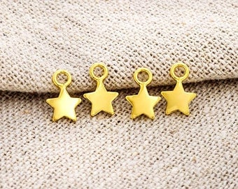 4 of 925 Sterling Silver 24K Gold Vermeil Style Star Charms 6 mm.   :vm0898