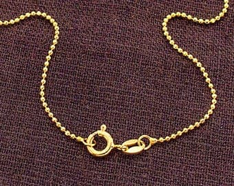 18 inches of 925 Sterling Silver 24k Gold Vermeil Style Diamond Cut Ball Chain, Necklace 1.2mm  :vm0986-18