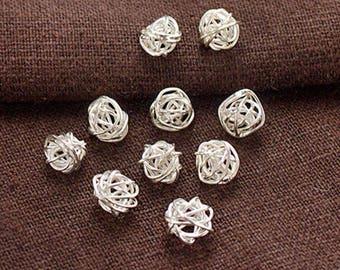 10 of Karen Hill Tribe Silver Wire Ball Beads 7mm.  :ka4282
