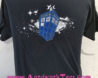 Space Police Box - Hand Printed T-Shirt