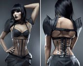 "Clear PVC with painted black steel boning long underbust corset from Artifice S 23"" for a 26-28"" waist"