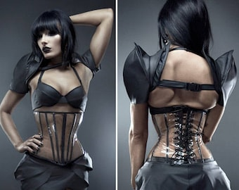 """Clear PVC with painted black steel boning long underbust corset from Artifice S 23"""" for a 26-28"""" waist"""