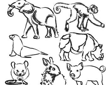 Sketched Animal Clipart, Animal Clip Art, Elephant Clipart, Rabbit Clipart, Rhino Clipart, Mouse Clipart, Digital Download
