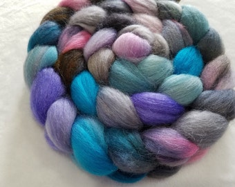 Merino/Baby Alpaca/Silk Roving-50/30/20-Hand Dyed/Painted - 4 oz - Silver, Pewter, Pink, Turquoise and Purple