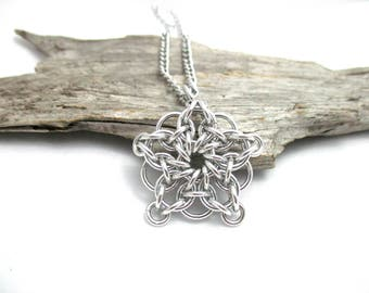 Silver Chainmail Star - Star Chainmaille Pendant - Celtic Star Pendant Necklace - Silver Star Pendant