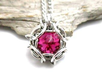 Fuchsia Swarovski Crystal Pendant - Phaedra Chainmaille Pendant - Swarovski Crystal Chainmail Pendant