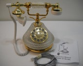 Vintage Crystal Glass Gold Touchtone French Telephone