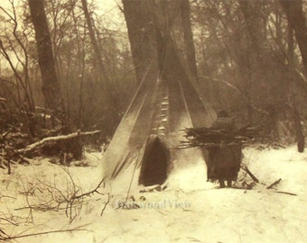 20% OFF Apsaroke Winter Print by Edward S. Curtis, Native American Indian, Crow Nation, Vintage 14x17 Sepia Bookplate, Tribal Ethnic, FREE S