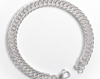 Chainmail Bracelet, Sterling Silver, Half Persian, 25th Anniversary, His and Hers Jewelry, Sterling Chainmail, Handmade Chainmaille, Canada