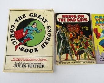 Vintage Marvel Comic Books Stan Lee // Comic Heroes // Captain America Batman // Comic Book Villains