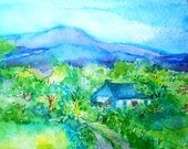 "Irish landscape "" Wicklow Cottage ""- -Original Watercolour painting"