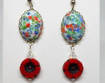 Poppy Earrings, Field of Poppies, Flower Earrings, Spring Flower Jewelry, Poppy Jewelry