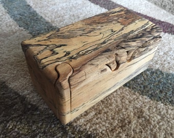 Handcrafted 4 Piece Spalted Tamarind Puzzle Box with inner compartment