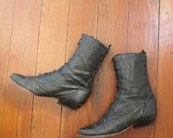 80's Vintage Zodiac Goth Lace Up Boots 8.5 M