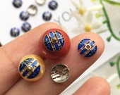 10pcs Blue Round Bead Caps-Ancient Chinese Theme Pattern Bead Caps