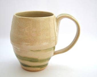 Ceramic Coffee mug, 8oz mug, Tea cup, Kitchen, White, Green, Coffee cup, Ceramic mug, Handmade mug