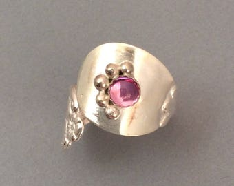 Sterling Silver Salt Spoon Ring with Pink Topaz stone