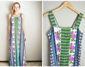 RESERVED for Christin ////// Vintage 60s 70s Maxi Wild Floral Print Sleeveless Summer Dress // womens small